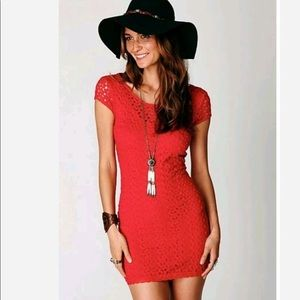 Free People red crochet dress NWT size M